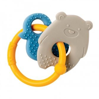Nattou Silicone Teether Bear & Duck Ochre Ring