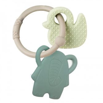 Nattou Silicone Teether Elephant & Duck Grey Ring